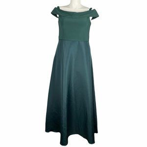 Adrianna Papell Emerald Formal Cold Shoulder Gown